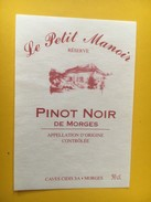 5858 - Pinot Noir De Morges Suisse Réserve Le Petit Manoir (restaurant) - Etiquettes