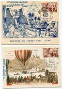 TUNISIE 2 CARTES MAXIMUM DE LA JOURNEE DU TIMBRE 1955 AVEC VIGNETTE SFAX - Covers & Documents