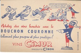 BUVARD -  Vins CIMUR, Bouchon Couronne - Buvards, Protège-cahiers Illustrés