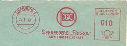 Germany Firmcover Meter Seereederei Frigga, Hamburg 24/1/1961 - Boten