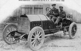 Grand Prix De L'ACF 1908  - Seine Inferieure  -  WAGNER Sur Voiture FIAT   - Carte Postale Ancienne - Grand Prix / F1