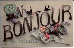 UN BONJOUR DE TARARE (fleurs Lilas Roses Oiseaux Hirondelles) - Tarare