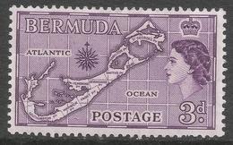Bermuda. 1953-62 QEII. 3d MH (Die I). SG 140 - Bermuda