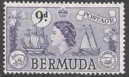 Bermuda. 1953-62 QEII. 9d MH. SG 143b - Bermuda