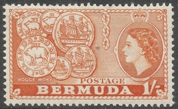Bermuda. 1953-62 QEII. 1/- MH. SG 144 - Bermuda
