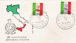 ITALIE  :   1er Jour émission Pour Le 25ème Anniversaire De La République  Cachet De Udine Du 12 06 1971 - 1946-.. République