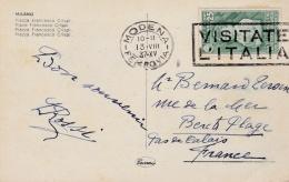 "ITALIE  :  Flamme ""  Visitate L'Italia "" Sur Carte Postale De Milan De 1937 - Marcophilie"