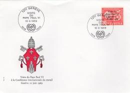 SUISSE  :   1er Jour Visite Du Pape Paul VI à Genève En  1969 - FDC