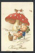 +++ CPA - Fantaisie - Voeux Bonne Année - Champignon - Trèfle - Cochon Humanisé - Pig  // - Nouvel An