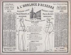 Calendrier  1872  A L Horloge D'auxerre Maison P. Roy  Plan De L' Yonne Au Verso - Calendars