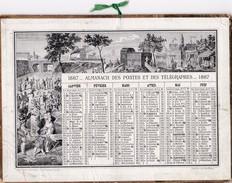 Calendrier  1887 Almanach Des Postes Et Des Telegraphes  Oberthur Imp Edit Rennes ( Cirque Dimanche Du Parisien ) - Calendriers