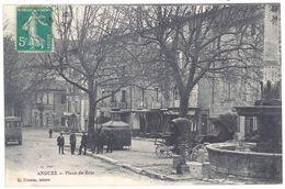 Cpa Anduze - Place De Brie - Anduze