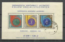 "Polen Bl.24 "" Block Mit Abbildung Der Postministerkonferenz Des Ostblocks Jg. 1961"".,gestempelt Mi. 5,00 € - Blocs & Feuillets"