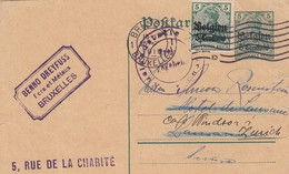 REICH POST-KARTE. 25.2.1916. BELGIEN. BRUSSEL-LAUSANNE THEN ZURICK - Germany