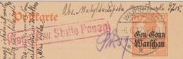 REICH POST-KARTE. 6.7.17. BARSCHAU. WARSCHAU POLEN-REGENSBURG. - Allemagne