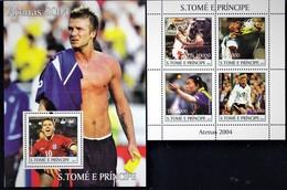 SAO TOME & PRINCIPE. OLYMPIC 2004. FOOTBALL BASKETBALL TABLE TENNIS.... SH+SS. MNH. 2017r1t - Verano 2004: Atenas