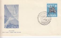 YOUGOSLAVIE - FDC 24.X.1955 - O.U.N. 1945-1955   / 3 - FDC