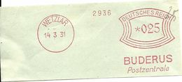 Germany Nice Cut Meter Buderus Postzentrale, Wetzlar 14/3/1931 - Fabrieken En Industrieën