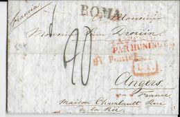 ITALIE - 1825 - LETTRE De ROME (ETATS PONTIFICAUX)  Avec ENTREE AUTRICHE Par HUNINGUE - Poststempel (Briefe)