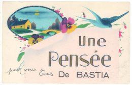 Cpa Une Pensée De Bastia ( Fantaisie, Hirondelle ) - Bastia