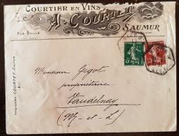 FRANCE, Vigne Et Vin, Enveloppe Publicitaire COURTET Courtier En Vins à SAUMUR 1911 (c) - Vins & Alcools