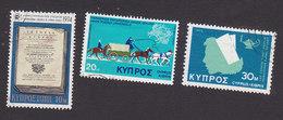 Cyprus, Scott #419, 434, 440, Used, History Of Cyprus, Mail Coach, Nurse, Issued 1974-75 - Cyprus (Republic)