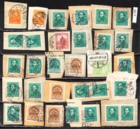 Hungarian Stamps, Cutouts On Paper 31 Pieces, 1914-1941 (e 195) - Hongrie