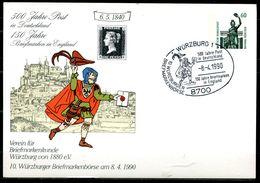 """Germany 1990 Privatganzsache 500 Jahre Post Mi.Nr.PP ?? Mit SST""""Würzburg 1-500 Jahre Post,150 Jahre Briefmarken"""" 1 Karte - Post"""