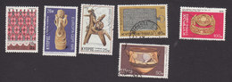 Cyprus, Scott #444-445, 455, 457-458, 460, Mint Hinged/Used, Napkin Surcharged, Artifacts, Issued 1976 - Used Stamps