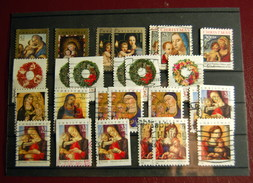 USA - 230 Stamps Christmas & Greetings Used On 8 Classification Cards - Sammlungen
