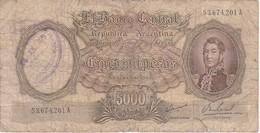 BILLETE DE ARGENTINA DE 5000 PESOS AÑOS 1962 A 1969 EN CALIDAD RC  (BANKNOTE) - Argentina