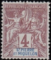 ST. PIERRE ET MIQUELON - Scott #62 Navigation And Commerce / Mint H Stamp - St.Pierre & Miquelon
