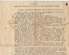 Placard 4 Nov 1918 Le Haut Commandement Allemand ... Zone De Guerre Vu Le Bourgmestre Massori - Documenten
