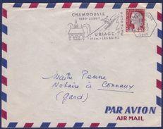 Secap Avec Tàd Hexagonal Chamrousse / Isère 1.3.1962 Sur Lettre Affr. 0,25 Marianne De Decaris - Marcophilie (Lettres)