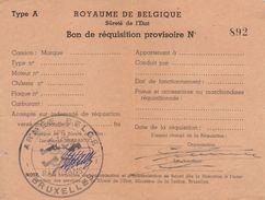 Royaume De Belgique Sureté De L'état Bon De Réquisition Armée Belge - Documenten