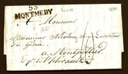 LETTRE PRECURSEUR FRANCE- MARQUE POSTALE- 55 MONTMEDY- 1821 - TAXE 10 DECIMES - 1801-1848: Precursors XIX