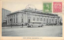 BUS - AUTOCARS - USA ( NJ New Jersey ) ELISABETH Near Post Office - CPSM PF 1932 Coatches Busen Omnibuses Autobuses - Buses & Coaches