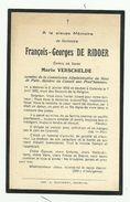 Doodsprentje  * De Ridder François (° Mechelen 1858 /+ Oostende 1922)  X Verschelde Marie - Religion & Esotericism