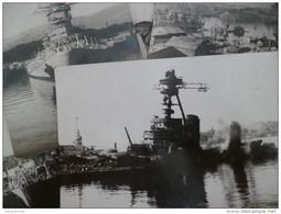 Rare Ensemble De Photos Format CPA Sabordage De La Flotte à Toulon 1942 Photo Blin Et De Preville. WW2 Guerre 39/45 - Boten