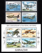 GIBRALTAR 1998 80th Anniversary Of The Royal Air Force: Set Of 4 Stamps & M/S UM/MNH - Gibilterra