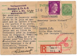 Entier Recommandé Koln Censure WWII - Allemagne