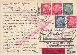 GERMANY 1936 (24.12.) P.ST.CARD UPRAT.BERLIN EXPRESS TO SCHWERIN (resent Rostock) - Allemagne