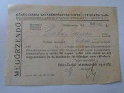 J2049.17 Hungary Békéscsaba Hitelbank  1943  2000 Pengö  - Recepit - Rechnungen