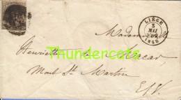 LETTRE DE 1858 LEOPOLD LIEGE 10A BRIEF BELGIE BELGIQUE - 1858-1862 Médaillons (9/12)