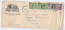 1930s? USA  Denver COSMOPOLITAN HOTEL  Illus ADVERT COVER  BUS , CAR Pic, Stamps To GB - Bussen