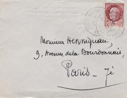 Pétain Bersier 1,50 F Sur Mignonette  De Fontenay Le Comte - Marcophilie (Lettres)