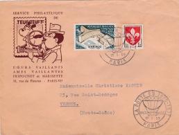 """Cachet Temporaire  Exposition Du 22 02 1959  """" La Poste En 1870 1871 """" Entête Teut Teuf 1er - Marcophilie (Lettres)"""