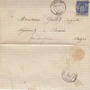 Lettre De Lamarche , Vosges ,cachet H De La Boite Rurale De Tignécourt ( Ou Flabémont ?? ),1889 - Marcophilie (Lettres)