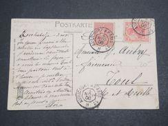 """FRANCE - Oblitération """" Avricourt à Paris """" Sur Semeuse Et Timbre Allemand Sur Carte Postale En 1906 - L 10254 - Poststempel (Briefe)"""