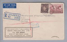 Australien 1947-08-04 Sydney R-Luftpostbrief Nach Villeret CH - 1937-52 George VI